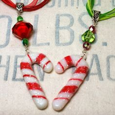 Funky Glitter Candy Cane Necklace Christmas Necklace by o2designs