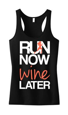 RUN Now WINE Later #Workout #Tank Top Black with Coral by #NobullWomanApparel, for only $24.99! Click here to buy https://www.etsy.com/listing/183821947/run-now-wine-later-tank-top-black-with?ref=shop_home_active_22