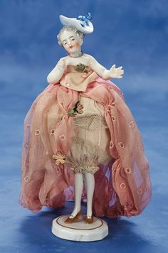 German Porcelain Half Doll with Original pincushion and base