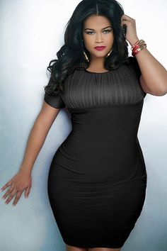 Plus size empire waist black dress is a perfect little black dress. Put on your favorite shapewear from HookedUp and rock it out! Go to hookedupshapewear.com for more.