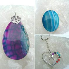 Chakra heart keyring and 2 interchangeable agate by BeadCaveMk3