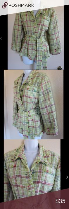 """WD Platinum Green sz 14 Large Tweed Jacket WD Platinum Tweed Jacket  Size 14  Fringe Detail  Lined  Belt only closure - no buttons  Green & Pink  Measurements While Laying Flat:  Shoulder to Shoulder 17""""  Armpit to Armpit 21 1/2""""  Length from Shoulder 24""""  Sleeve Length 20""""  Waist 20""""  Hips 21 1/2""""  Will This Item Fit Me? To make sure an item will fit you properly find a similar item in your closet.  Lay it down flat.  With a tape measure, measure the above locations. If they are a close…"""