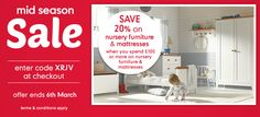 20% Off Nursery Furniture & Mattresses