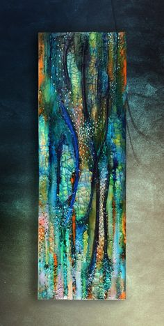 Mixed media canvas, Eternal Spring, crackle painting, vertical blue gold sparkle, tree, twig, shine, green gold, textural canvas, abstract, Painting by Maria Fondler-Grossbaum | Artfinder