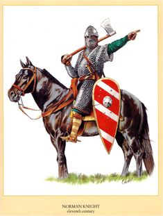 Norman knight (demonstrating, I believe, the Norman version of telling… Medieval Knight, Medieval Armor, Medieval Fantasy, Military Art, Military History, Norman Knight, Les Runes, High Middle Ages, Landsknecht