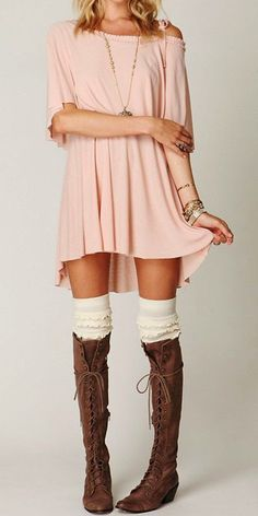 adorable, wild and pretty boho long brown color pure leather boots and mini dress