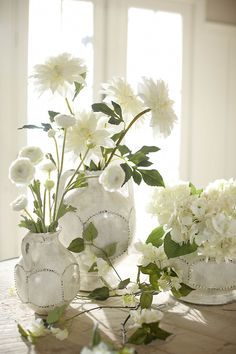 potterybarn: White flowers in white vases are fresh and timeless