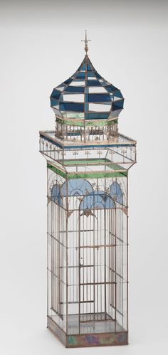 Brass and Glass Birdcage, 1920 / The Corning Museum of Glass♦️More Pins Like This At FOSTERGINGER @ Pinterest ♦️