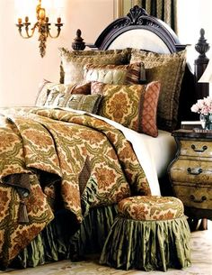 Elegant Villa Arosa luxury bedding is a feast for the eyes! Sage green, delicate rose, and soft beige combine in a stylish floral frame. Accented with smooth chenille, graceful silk,.