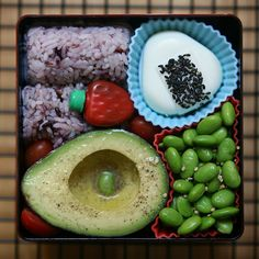 """bento with avocado and egg """"onigiri"""" - most delicious bento i've seen in ages!"""