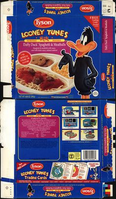 Tyson - Looney Tunes Meal - Daffy Duck Spaghetti & Meatballs - tv dinner box - 1990 by JasonLiebig, via Flickr