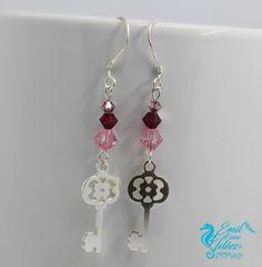 BO en argent 925, clés et perles de swarovski rose, rouge