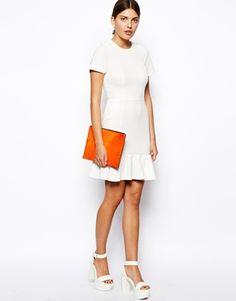 Enlarge ASOS Pencil Dress In Texture With Peplum Hem - super want it!