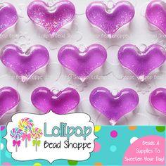 PURPLE Glitter Heart Pendants NEON Acrylic Sparkly Heart Charms Plastic Sparkle Hearts Pendant 28mm x 21mm 4-ct Chunky Necklace Pendants by LollipopBeadShoppe, $3.95