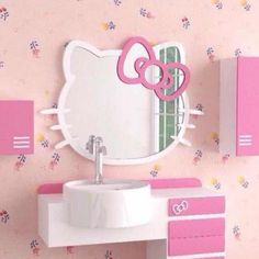 hello kitty wall mirror for sale. Hello Kitty Wall Decal Room Decor Sticker Mirror Surface For Nursery Kids Pink Color Inside Wall. Hello Kitty Bathroom, Hello Kitty Rooms, Hello Kitty Themes, Hello Kitty Birthday, Hello Kitty Room Decor, Hello Kitty Zimmer, Hello Kitty Haus, Cat Bedroom, Kids Bedroom