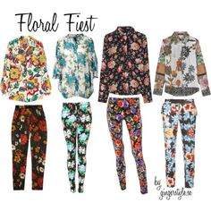 Flower Power, created by gingerstyle on Polyvore Harem Pants, Pajama Pants, Flower Power, Pajamas, Floral, Flowers, Polyvore, Fashion, Pjs