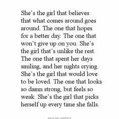 Top She's A Strong Girl Quotes – Deep and Spectacular Motivational Quotes – California Memes True Quotes, Motivational Quotes, Inspirational Quotes, She Quotes Deep, Quotes Quotes, Qoutes, I Like Him, Strong Girl Quotes, Broken Girl Quotes