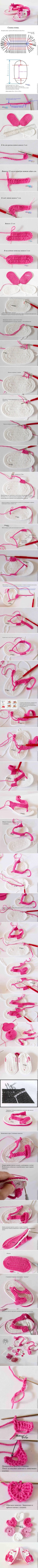 Crochet Little Girl Sandals - Chart ❥ 4U // hf