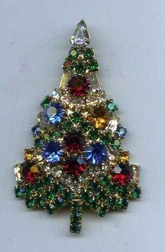 Vintage signed Eisenberg Ice Christmas tree Brooch | eBay