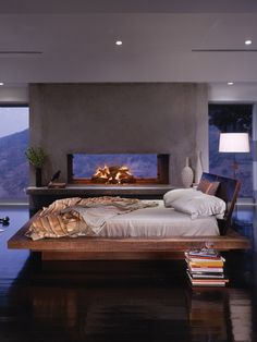 platform bed and fireplace