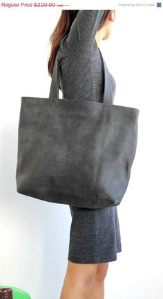 SPRING SALE Grey leather tote  Grey distressed by BarLeather