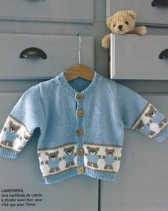 Inspiration Only, Like The Colors - Maal - Diy Crafts Baby Boy Knitting Patterns, Baby Sweater Knitting Pattern, Fair Isle Knitting Patterns, Knitting For Kids, Baby Patterns, Baby Boy Sweater, Baby Cardigan, Baby Sweaters, Knitted Baby Outfits