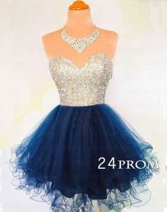 Sweetheart A-line Rhinestone Short Prom Dress, Homecoming Dress – 24prom