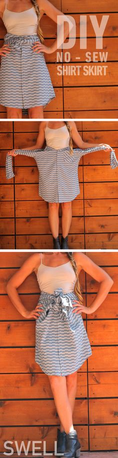 DIY skirt out of a men's shirt. http://blog.swell.com/DIY-shirt-skirt #doityourself #swell
