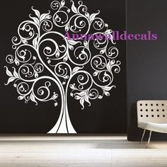 Great Home Floral Swirly Tree Wall Bird Wall Art, Tree Wall Art, Tree Wall Painting, Nursery Wall Stickers, Vinyl Wall Decals, Family Tree Mural, Tree Decals, Tree Wall Stencils, Ideias Diy
