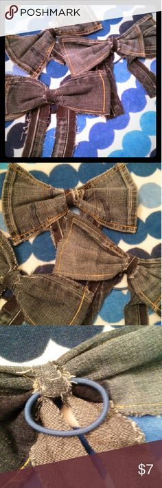 Frayed & distressed Denim bows w/ rubberband Super cute for cheer bows & every day wear Accessories Hair Accessories