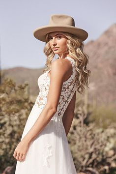 Lillian West - Style 66159: Jewel Neckline A-Line Gown with Cotton Lace and English Net Skirt Lillian West, Anne Barge Wedding Dresses, Bridal Gowns, Wedding Gowns, Boho Vintage, Crepe Skirts, A Line Gown, Cotton Lace, Bodice