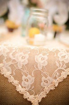 burlap, lace & mason jars