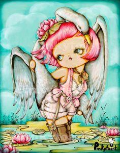 11x14-Leda in Waders-Pop Surrealism-Big Eye Girl and The Swan-Lily Pond Fairy Tale--Pinkytoast Art Print