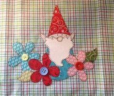 Garden Gnome Applique PDF Pattern for Tea Towel Doodle Designs, Doodle Patterns, Quilt Patterns, Sewing Patterns, Applique Towels, Applique Pillows, Wool Applique, Applique Quilts, Small Quilts