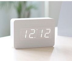 LED Brick White Alarm Clock