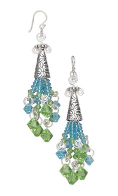 Earrings with Swarovski Crystal Beads and Drops, Sterling Silver Cones and Wire Wrap - Fire Mountain Gems and Beads