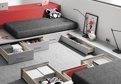 dormitorio juvenil para 2, espacios compartidos optimizando el espacio, cajones contenedores en las camas  - mobles tatat horta guinardó, barcelona