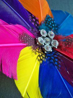 Rainbow Flower Feather Hair Clip