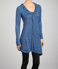 Look at this #zulilyfind! Midnight Blue Lace Appliqué Linen-Blend Tunic by Pretty Angel #zulilyfinds
