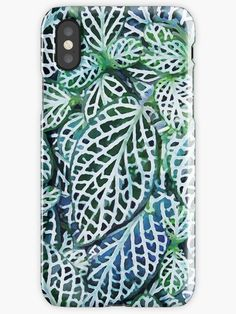 'Tropical Nerve Mosaic Plant Fittonia Leaves' by Menega  Sabidussi  iPhone Case @redbubble #case #tech #appletech #redbubble