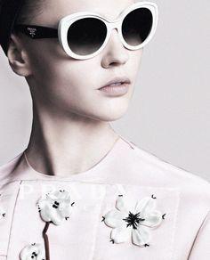 "deprincessed: ""Sasha Pivovarova in the Prada S/S 2013 eyewear ad campaign shot by Steven Meisel "" Sunglasses Sale, Sunglasses Women, Prada, Sasha Pivovarova, Fashion Details, Style Fashion, Fashion Ideas, Eyeglasses, Eyewear"