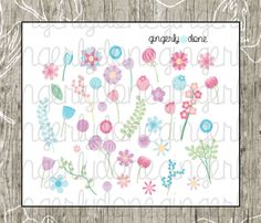 40 Brightly Colored Flower Die Cut Stickers by GingerlyDone