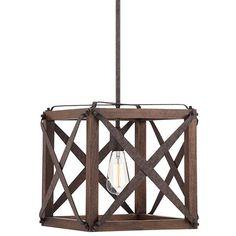 "Oaklyn 13""W Industrial Rust Square LED Pendant Light"