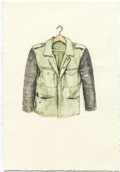 Military Beat Up Jacket with Faux Leather by ephemerafriends, $80.00