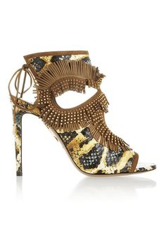 Aquazzura  Studded and fringed, this pair of sandals