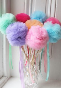 Tulle Pom Pom Wands Party Favors NEW Basic Wands 10 by prettimini