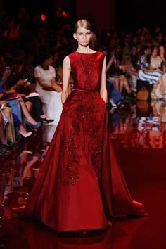 Elie Saab Fall 2013 Couture Runway - Elie Saab Haute Couture Collection - Kill em dead red a dress with pockets always wins!