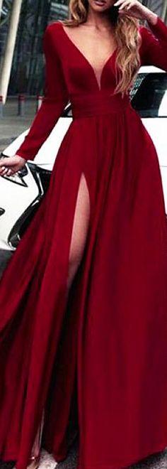 Junoesque Spandex V-neck Neckline Long Sleeves A-line Prom Dress With Slit