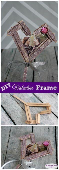 DIY Valentine Frame from Craft Sticks - Busy Moms Helper Valentines Frames, Valentines Day Gifts For Him, Valentine Day Crafts, Kids Valentines, Valentine Cookies, Valentine Ideas, Craft Stick Crafts, Diy Crafts For Kids, Craft Sticks
