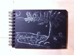 Landschaftsskizze Baum bei Nacht - der Weißmaler